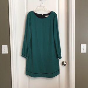Loft Silky Green Patterned Dress 12